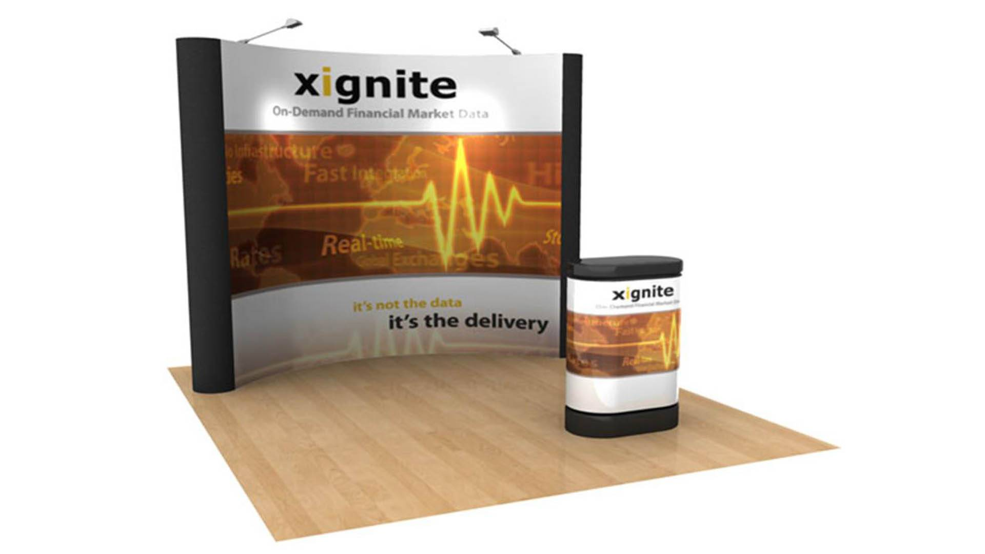 10 x 10 curved popup display with podium